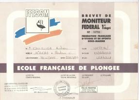 Moniteur de la Fédération Française de Plongée. Monitor de la Federación Francesa de Buceo. Nivel MF1 desde 1995.