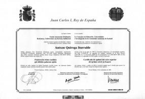 Diplomado de la Escuela oficial de Idiomas 5º año. Diplômé de l'école officielle de langues, Brevet d'État en langue française, niveau supérieur 5e année.