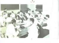 En clase avec notre tutrice Madame Batifoix. 1965 Trégey Bdx